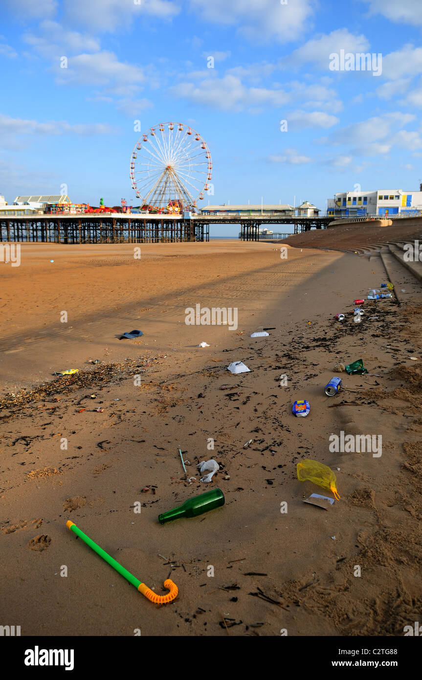Blackpool Beach and Waste Rubbish. - Stock Image