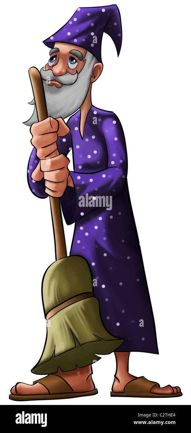 a old wizard with a purple hat and a broom - Stock Image