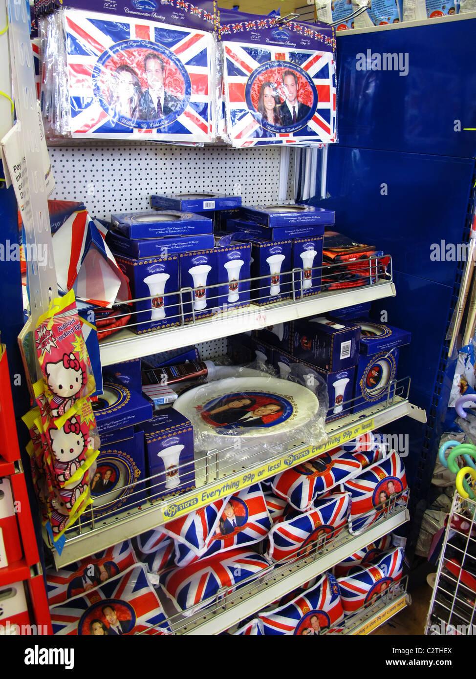 Tacky Royal wedding souvenir stand - Stock Image