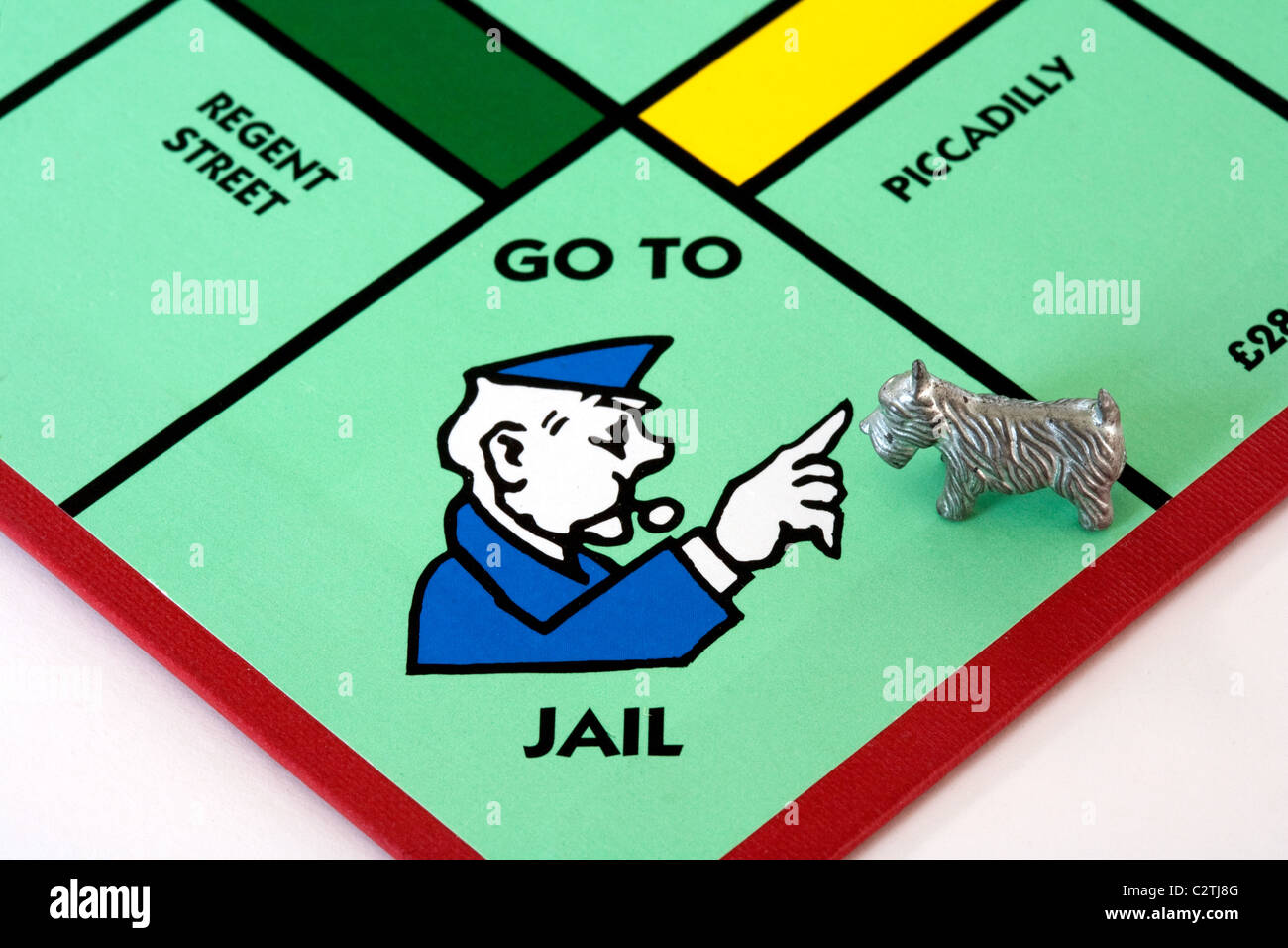 A dog piece on the 'Go to Jail' space on a monopoly game board UK - Stock Image