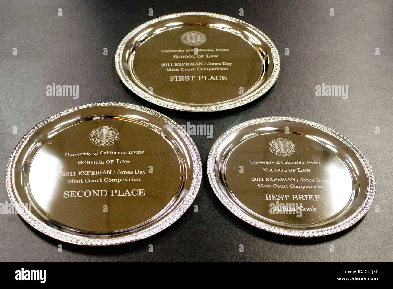Silver plate prizes are on display at the moot court of the law school of the University of California. - Stock Image