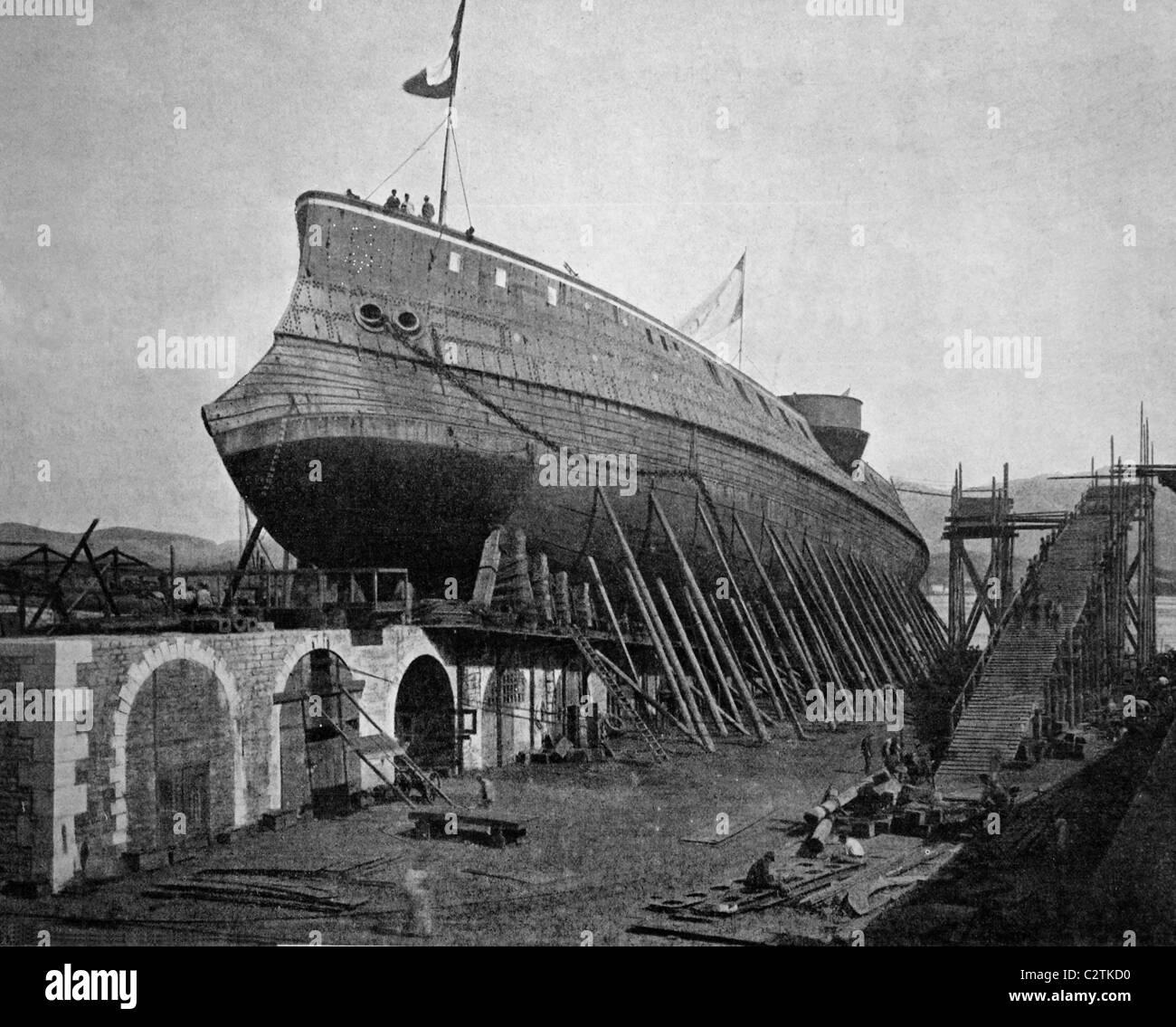 Autotype of the launch of the Le Chantier du Marceau warship in Seyne-sur-Mer, Cote d'Azur, France, historical - Stock Image