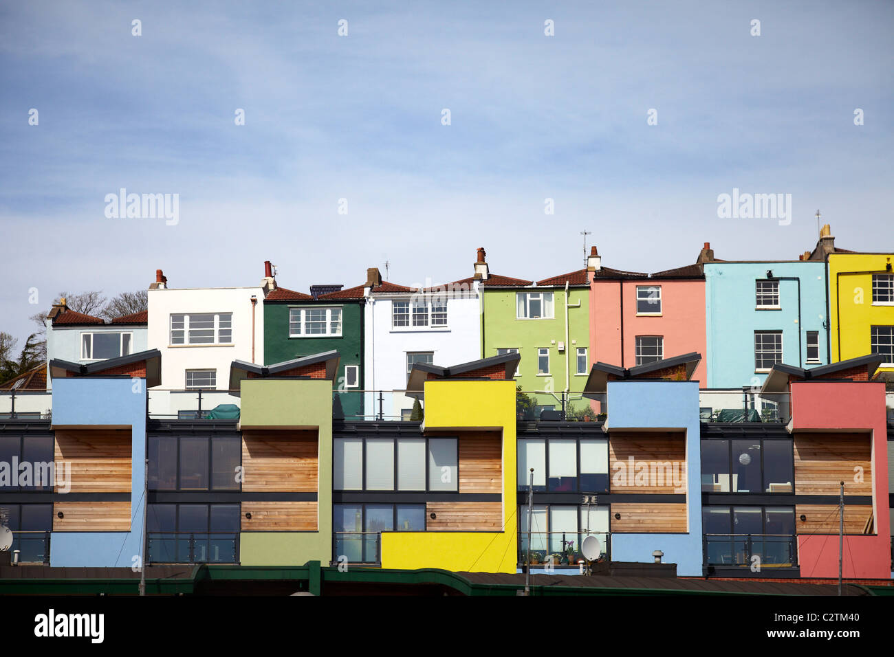 Colourful Terraced Houses on Bristol Waterside Stock Photo