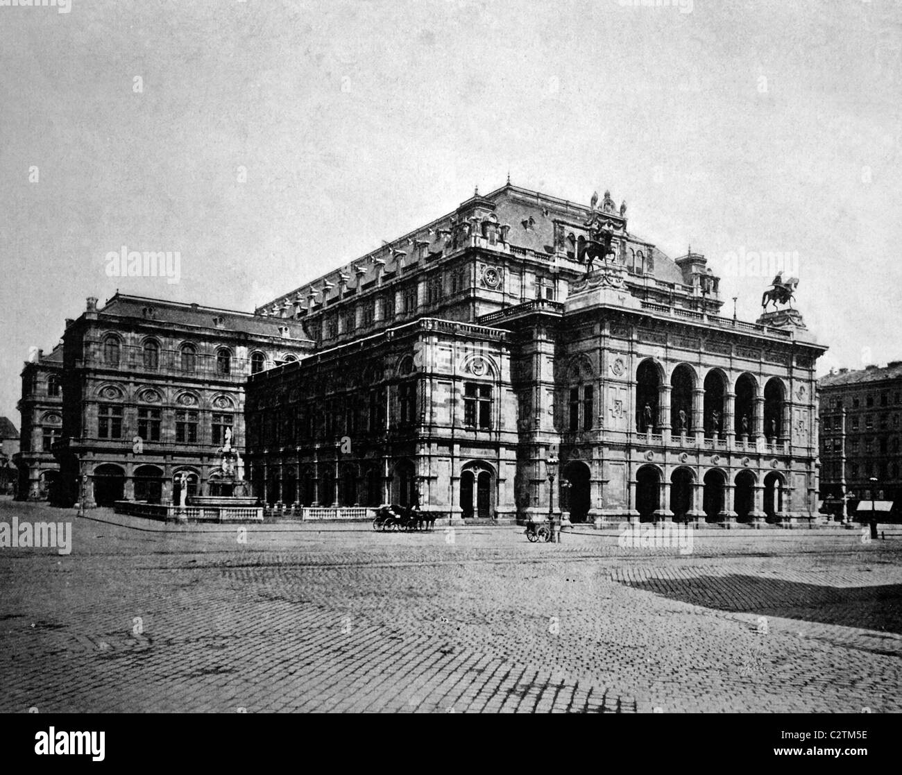 Early autotype of the Opera House in Vienna, Austria, historical photo, 1884 - Stock Image