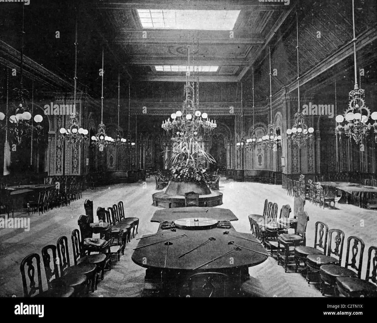 Early autotype of the Salle de Jeux, game room, Casino Monte Carlo, Monte Carlo, Monaco, historical photo, 1884 - Stock Image