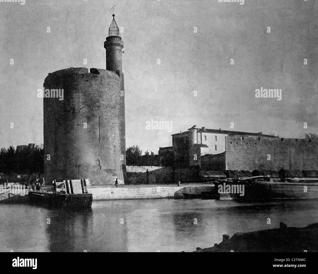 Early autotype of the Tour de Constance guard tower in Aigues Mortes, Département Gard, France, historical - Stock Image