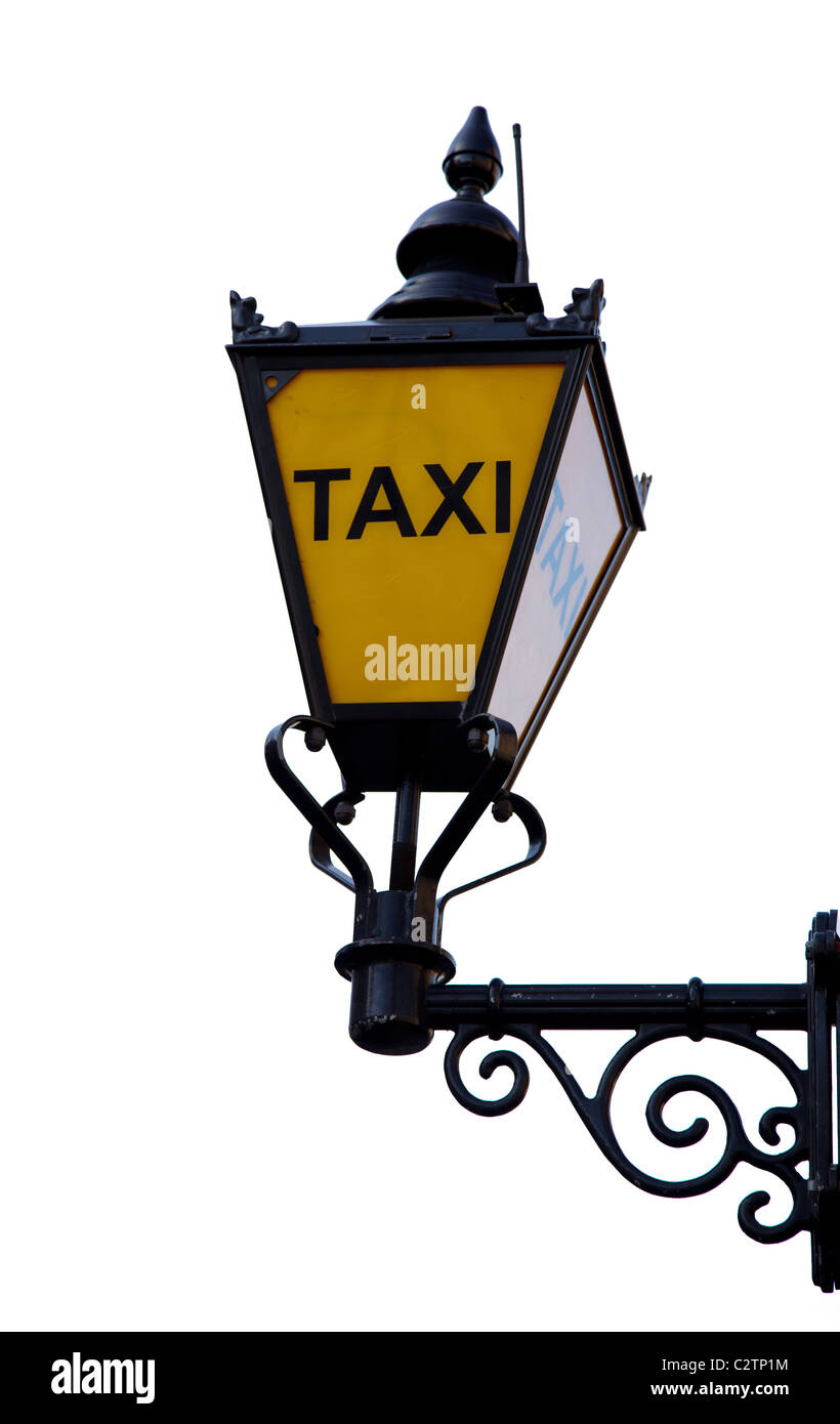 Old British taxi road sign - Stock Image