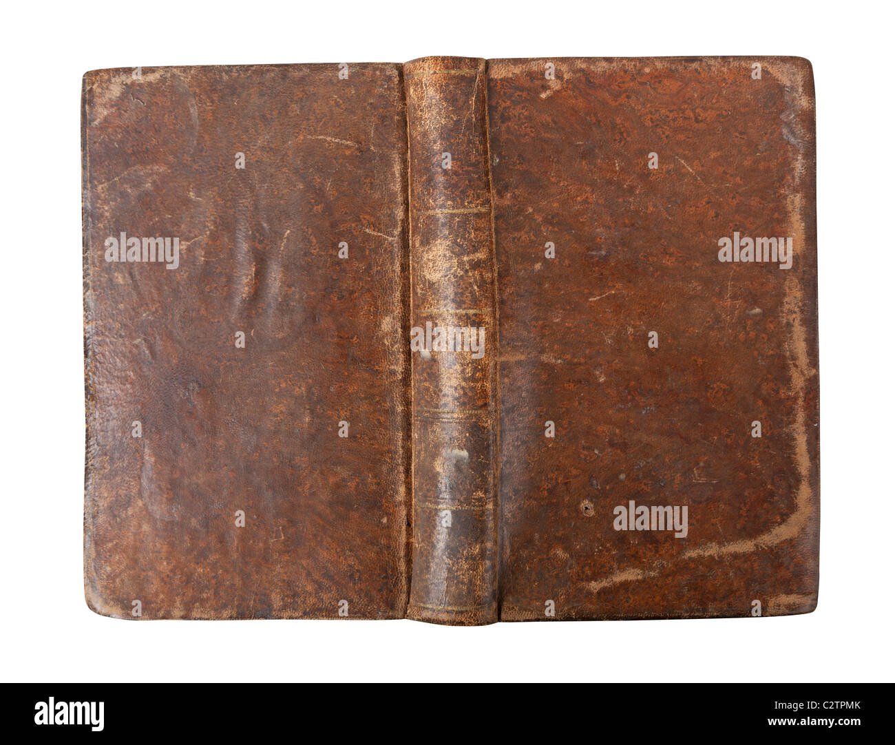 Old book with wear and tear isolated on white background - Stock Image