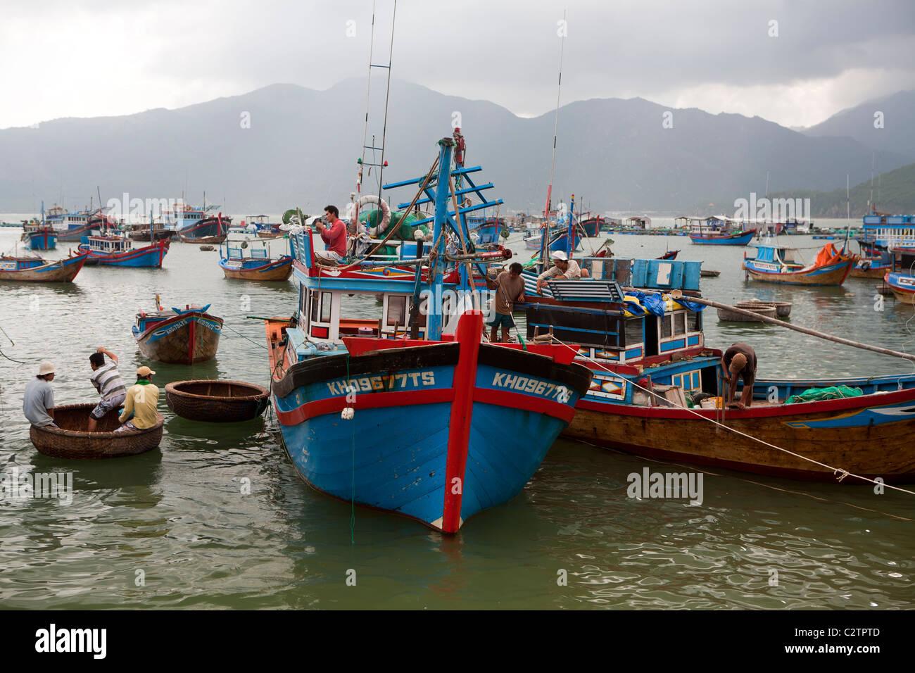 Fishing boats on Hon Mieu island near Nha Trang Stock Photo