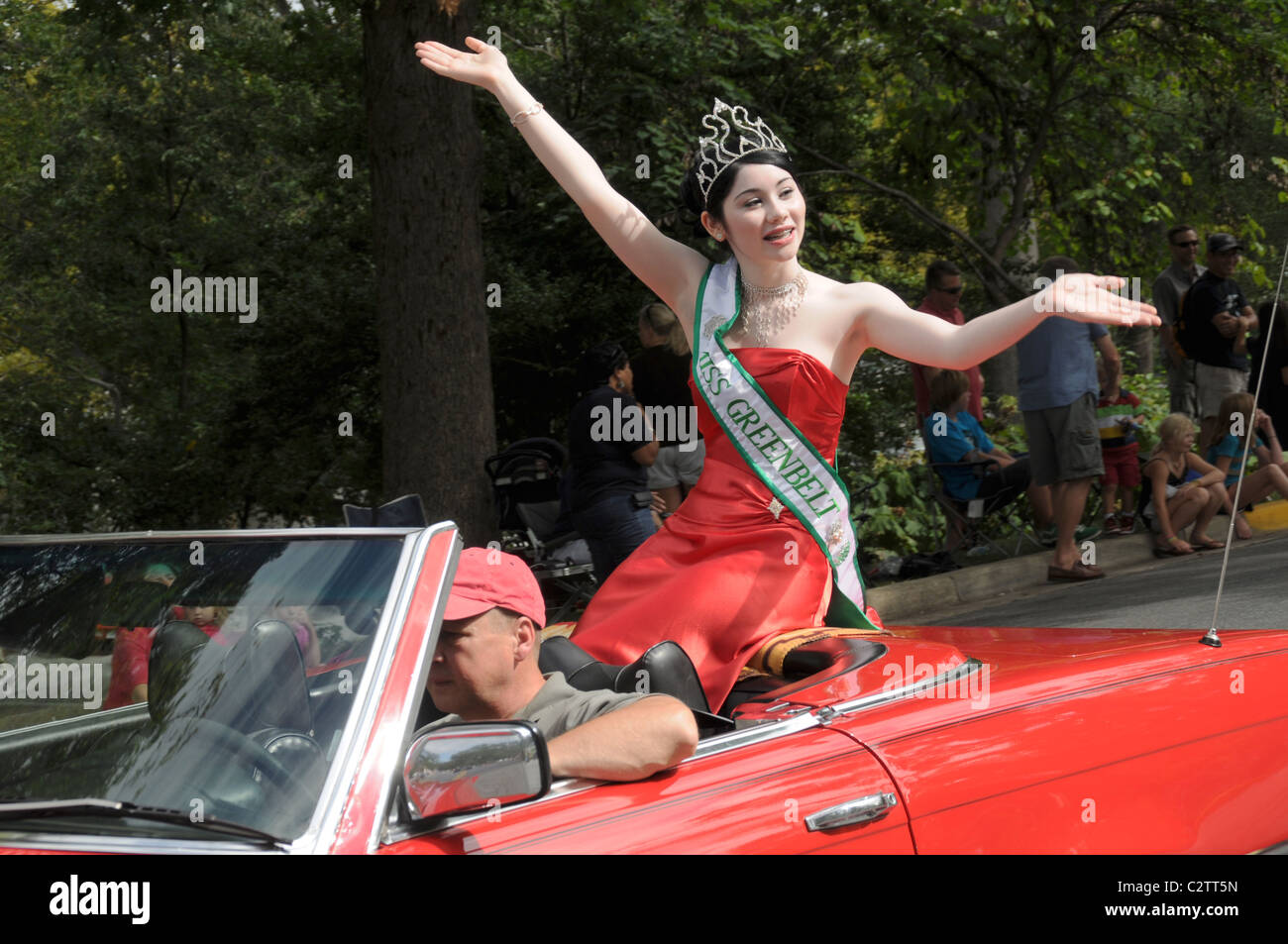 Miss Greenbelt waves during the Labor Day parade in Greenbelt, Marylandt - Stock Image