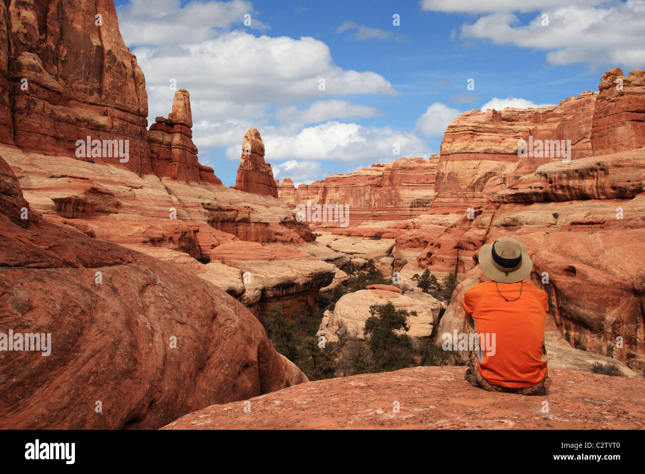 a sitting man admires the view in Canyonlands National Park - Stock Image