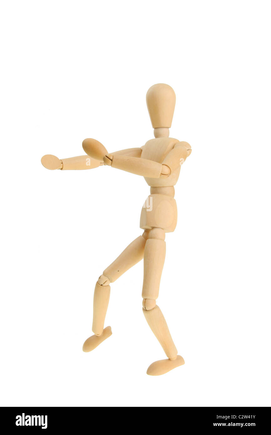 Artist's mannequin in a martial art fighting pose - Stock Image