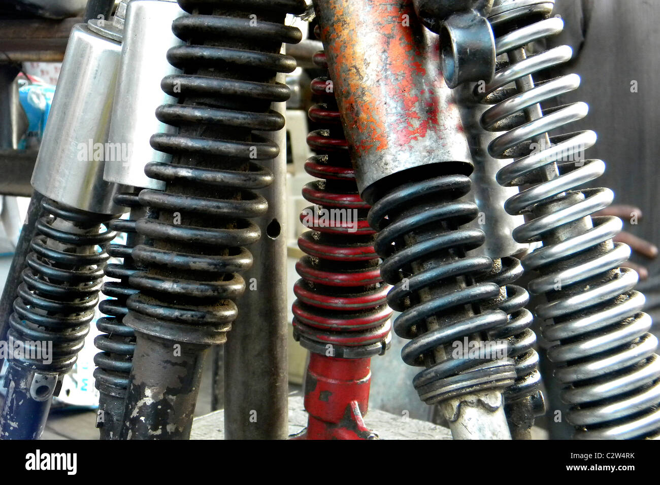Car shock absorbers, New Delhi, India - Stock Image
