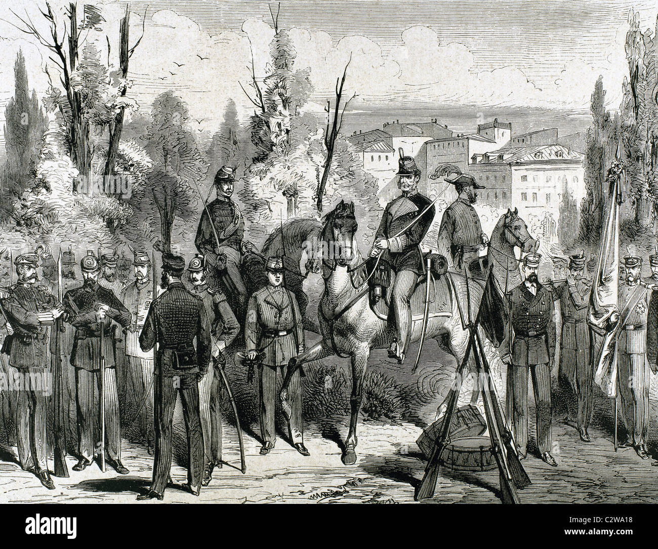 National Militia. 'The Spanish and American Illustration, ' 1872. Engraving. - Stock Image