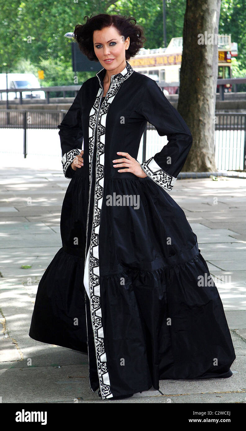 Linzi Stoppard models the world's most expensive abaya. The diamond-encrusted Islamic dress, designed by couture - Stock Image
