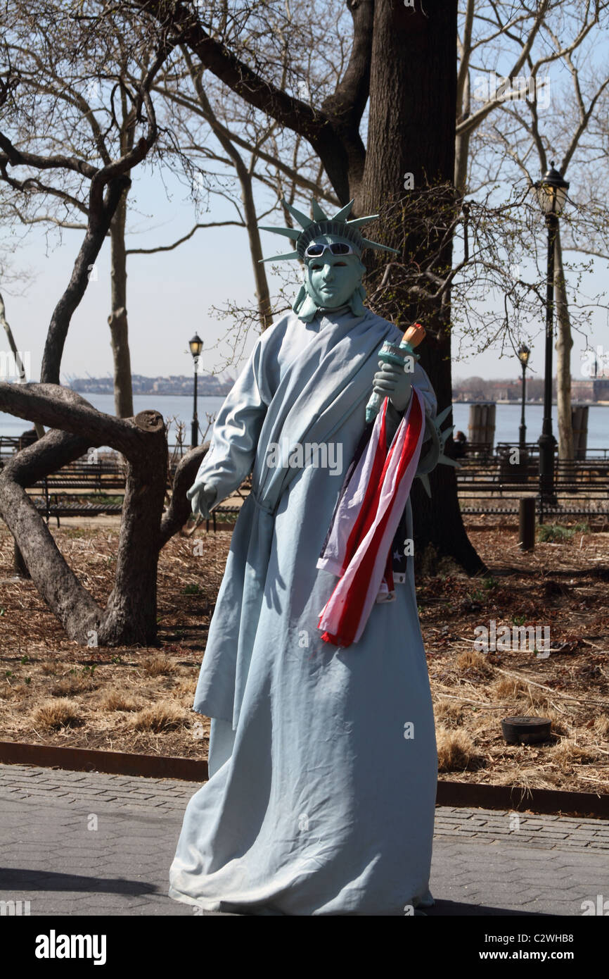 Mime of Lady Liberty at Battery Park in New York City Stock Photo