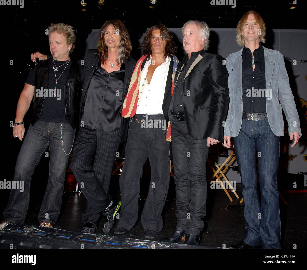 Aerosmith launch the new video game 'Guitar Hero: Aerosmith' at Hard Rock cafe New York City, USA - 27.06.08 - Stock Image