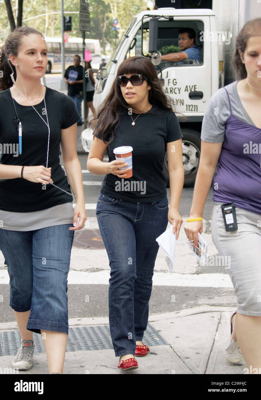 9e0448c087147 America Ferrera arriving to the set of  Ugly Betty  filming in Manhattan  New York