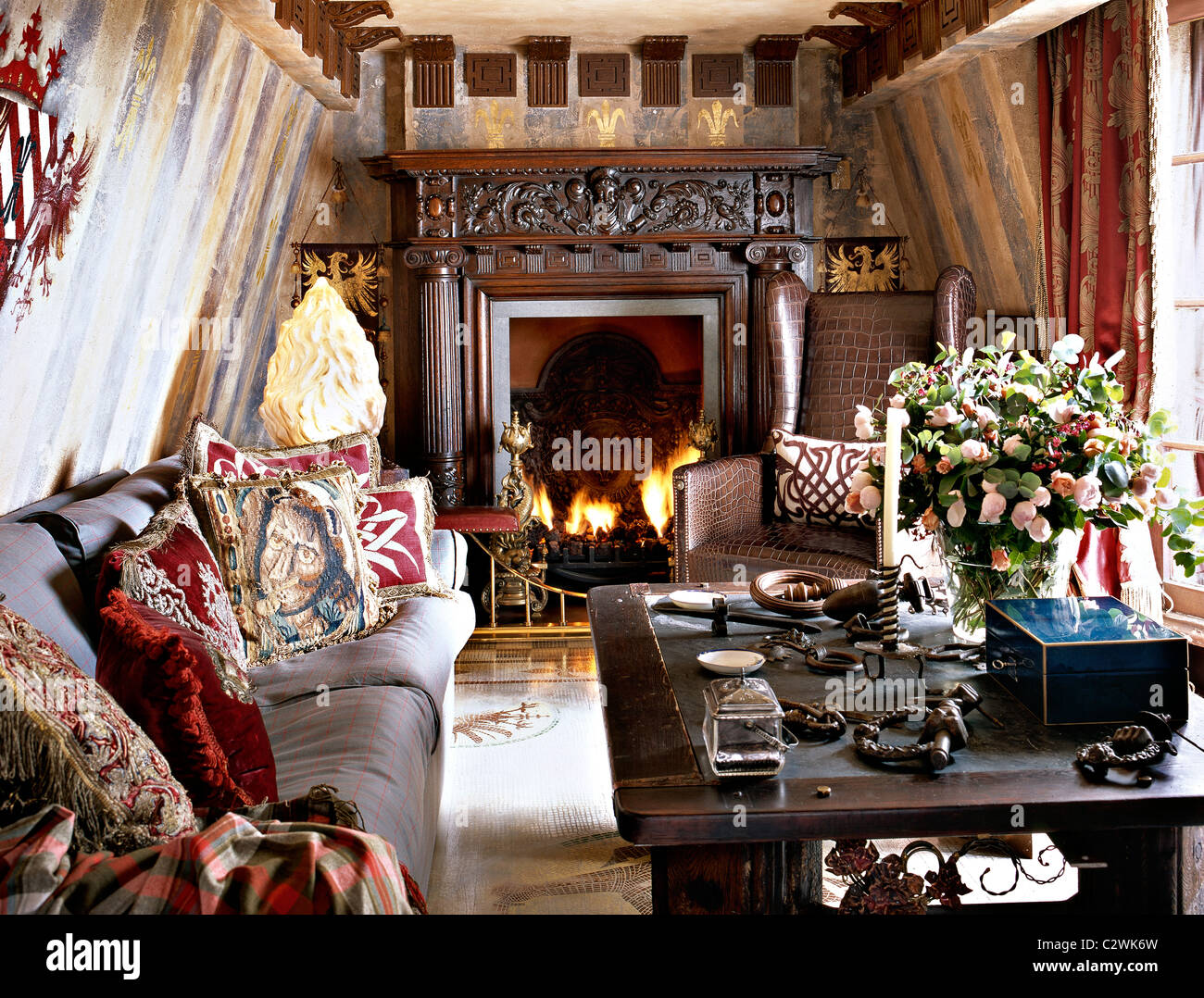 Fireplace Medieval Style High Resolution Stock Photography And