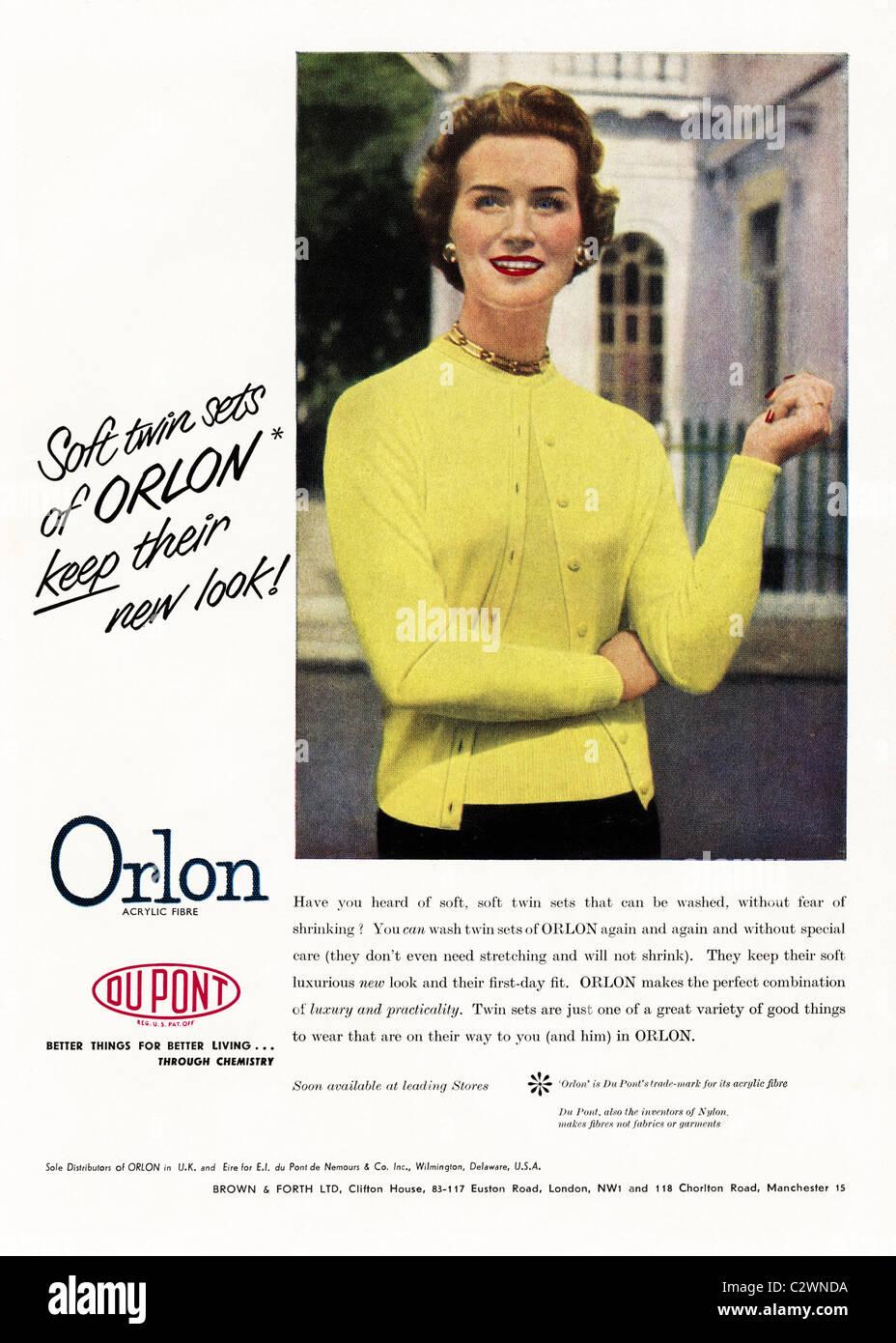 Full page colour advertisement in fashion magazine circa 1950s for ORLON acrylic fibre by DU PONT - Stock Image