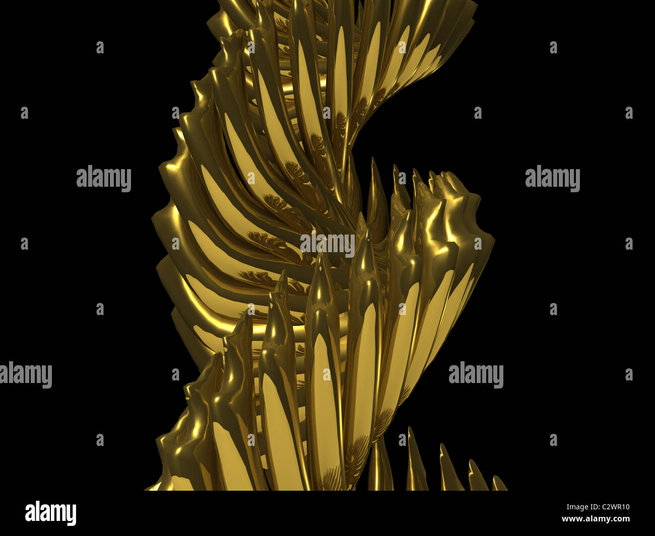 chrome gold abstract. 3d - Stock Image