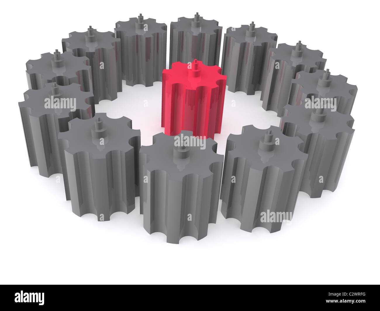 gears leadership. 3d - Stock Image