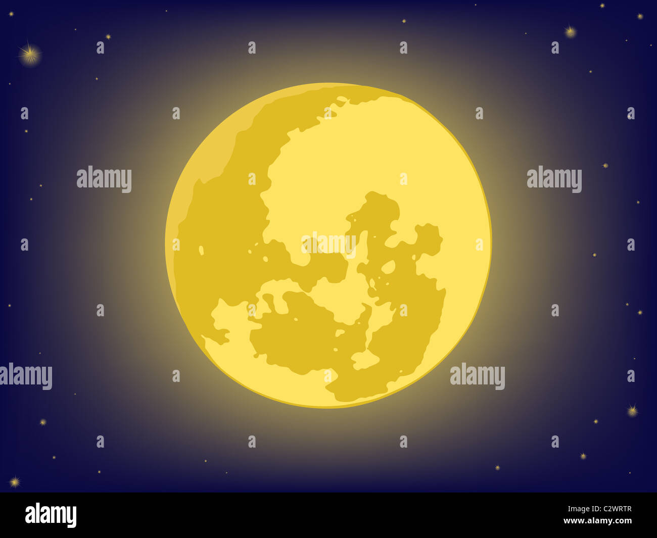 moon on night sky. vector backgrounds Stock Photo