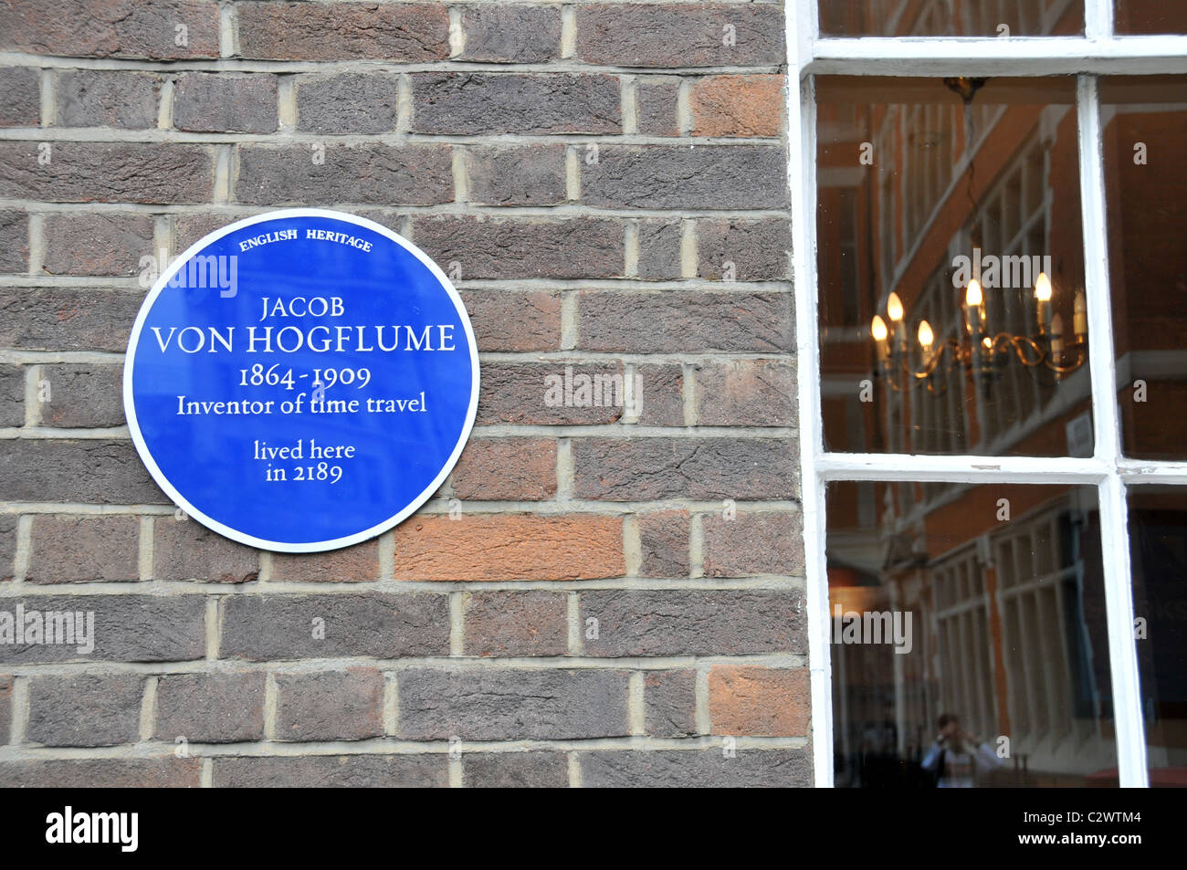 Time Travel Time traveller Jacob Von Hogflume joke blue plaque London Stock Photo