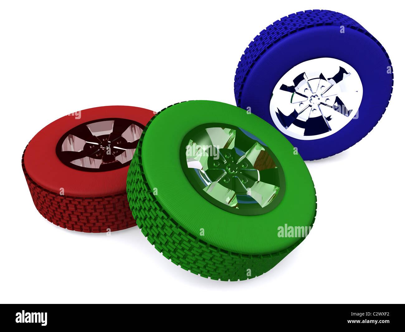 car wheels. 3d - Stock Image