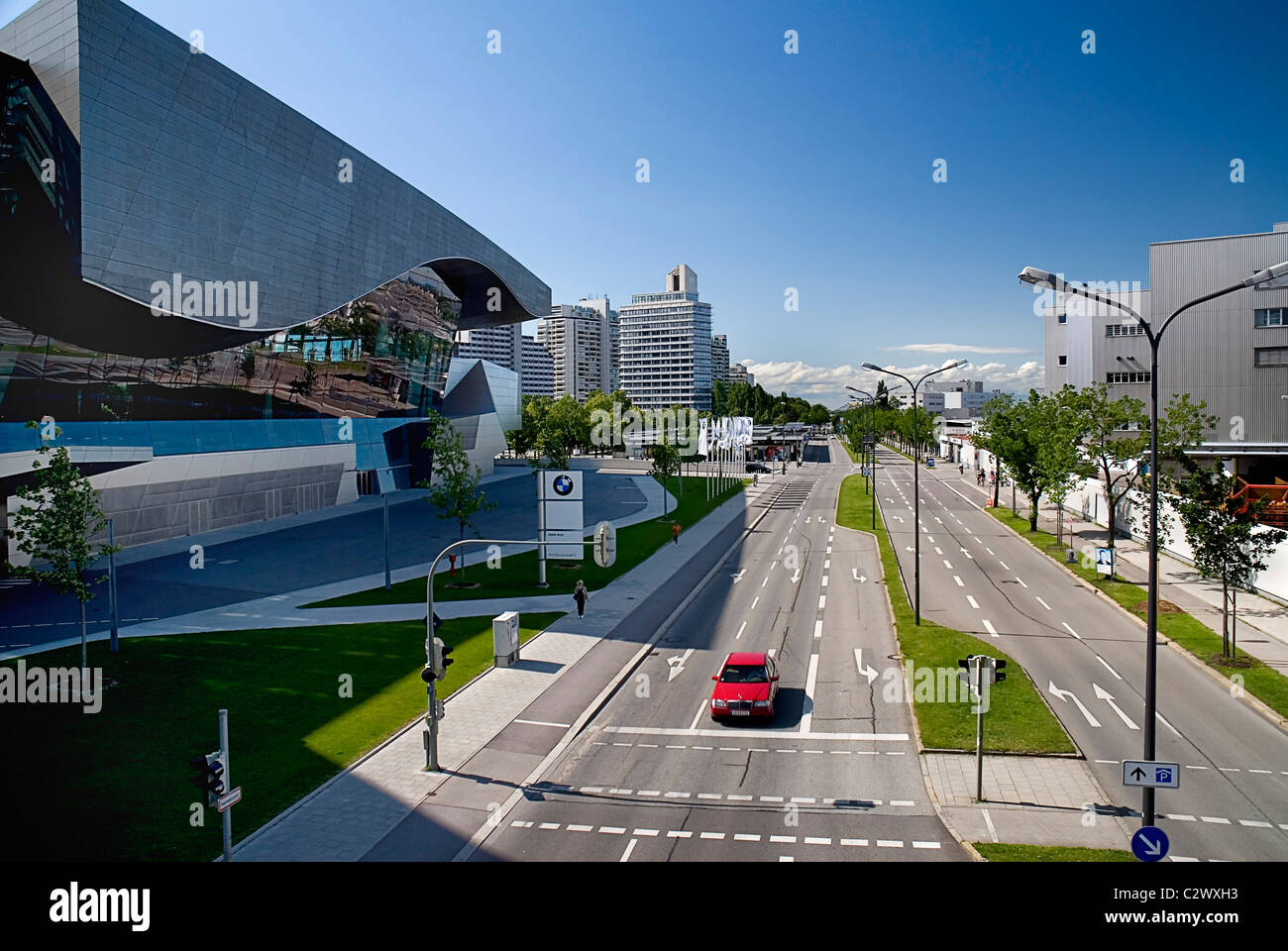Germany, Bavaria, Munich, BMW Welt, World, on left. This is a BMW showroom across the road from company corporate - Stock Image