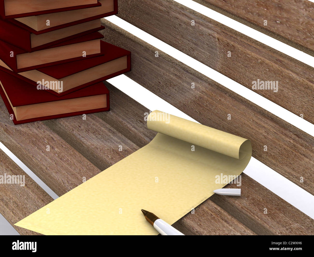 letter on bench. 3D - Stock Image
