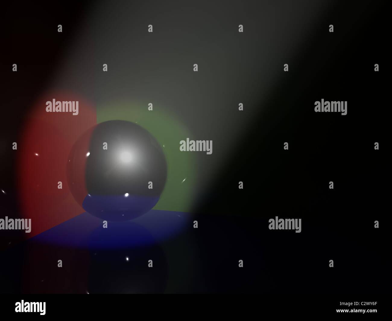 chrome sphere in light. 3d - Stock Image