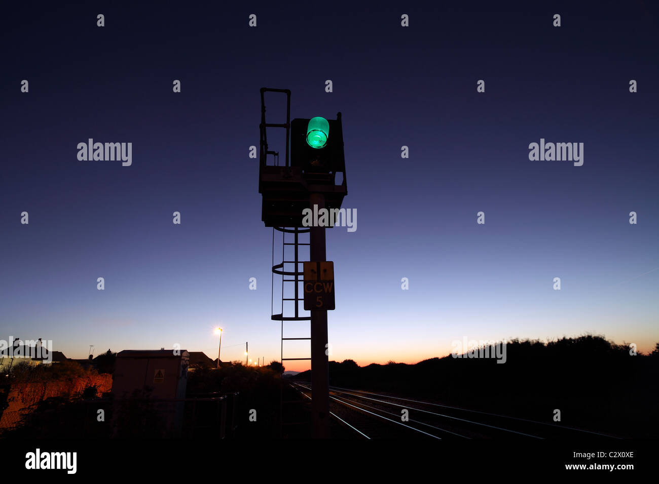 Green for Go: railway signal, Cooden Beach, East Sussex. On the line between Eastbourne and Hastings. - Stock Image