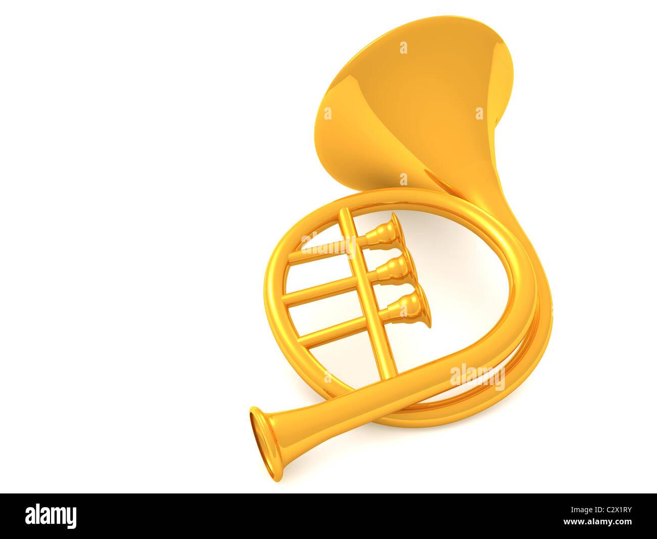 musical instrument horn.3d - Stock Image