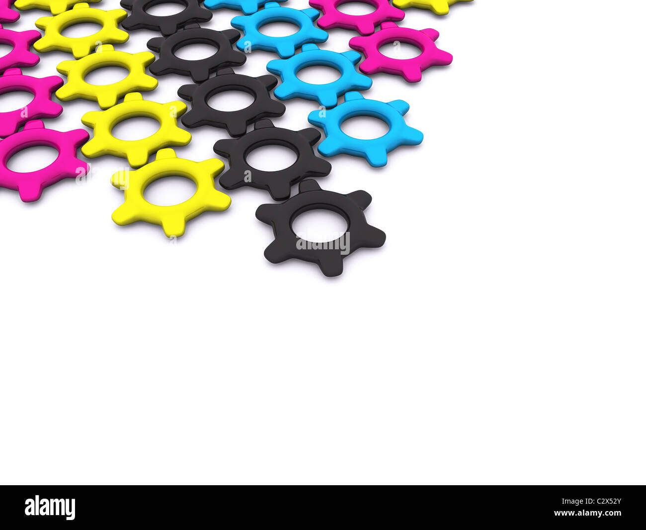 CMYK gears. 3d - Stock Image