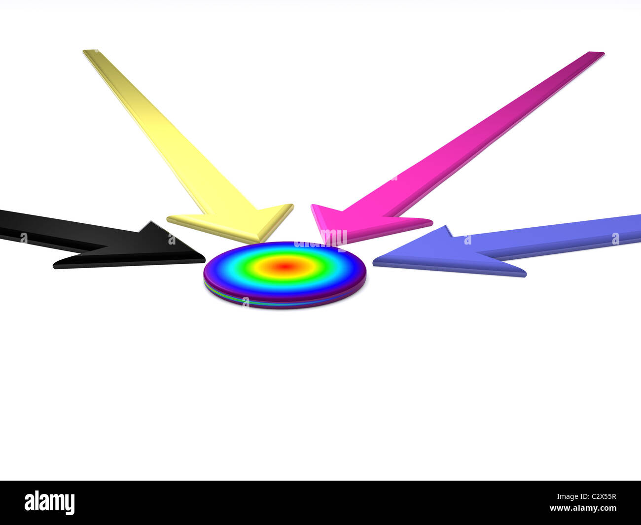 CMYK pointer to target. 3D - Stock Image