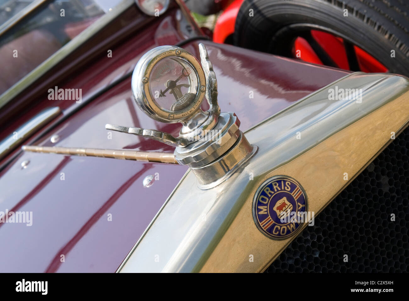 de Havilland Aircraft Heritage Museum Morris Cars Day , 1929 red 1.8l Morris Cowley drop head convertible detail - Stock Image