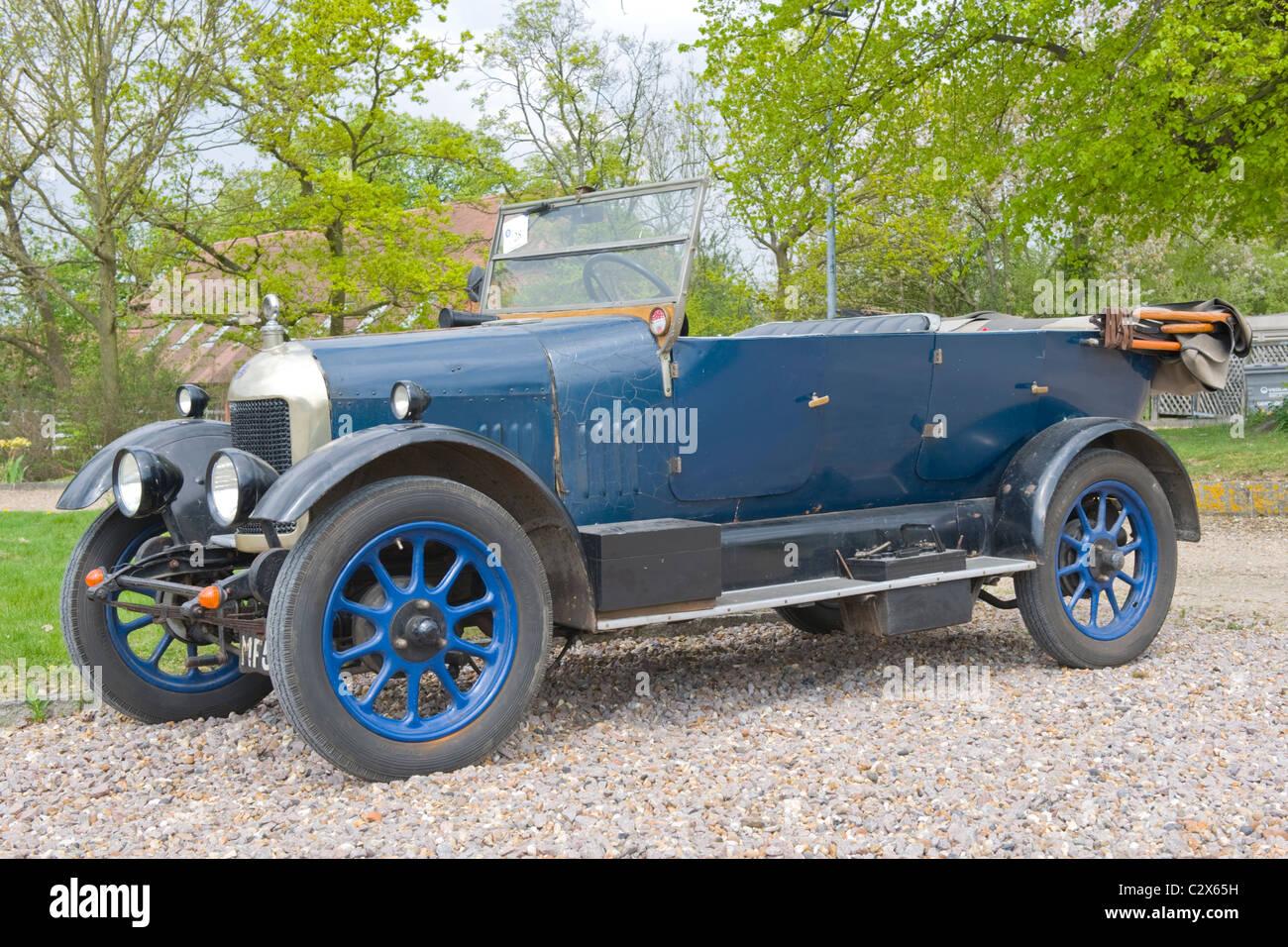 de Havilland Aircraft Heritage Centre Museum , Morris Cars Day , 1924 4dr Morris Bullnose 1.5l Hotchkiss straight - Stock Image