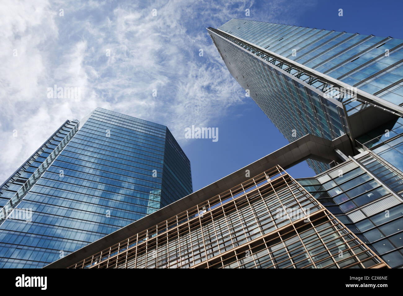 Modern architecture, skyscrapers with glass surface in Beijing central business district, Beijing, China - Stock Image