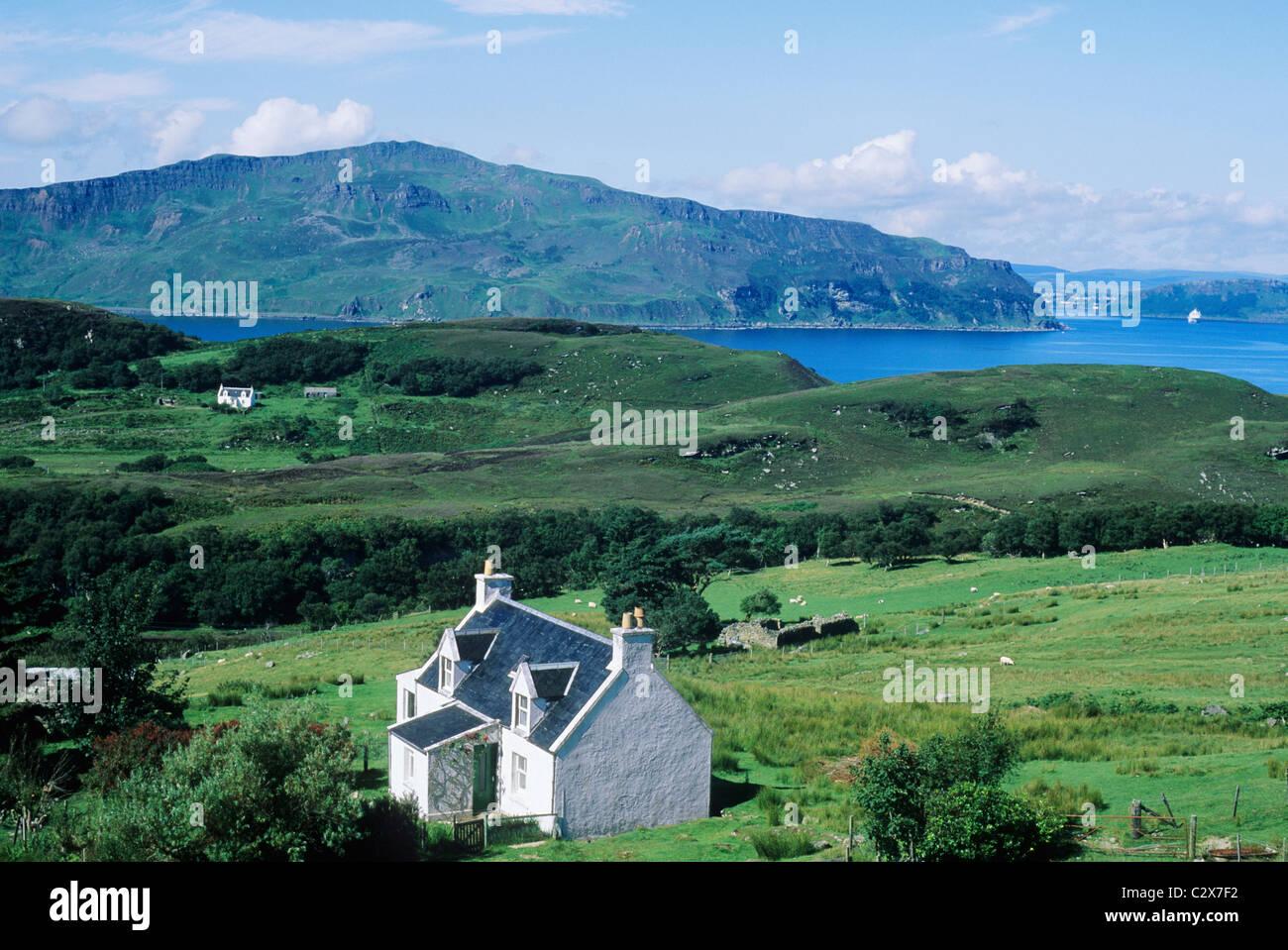 Isle of Raasay, view over Balachuirn Hamlet to Skye, Scotland Scottish island islands coast coastal scenery landscape - Stock Image