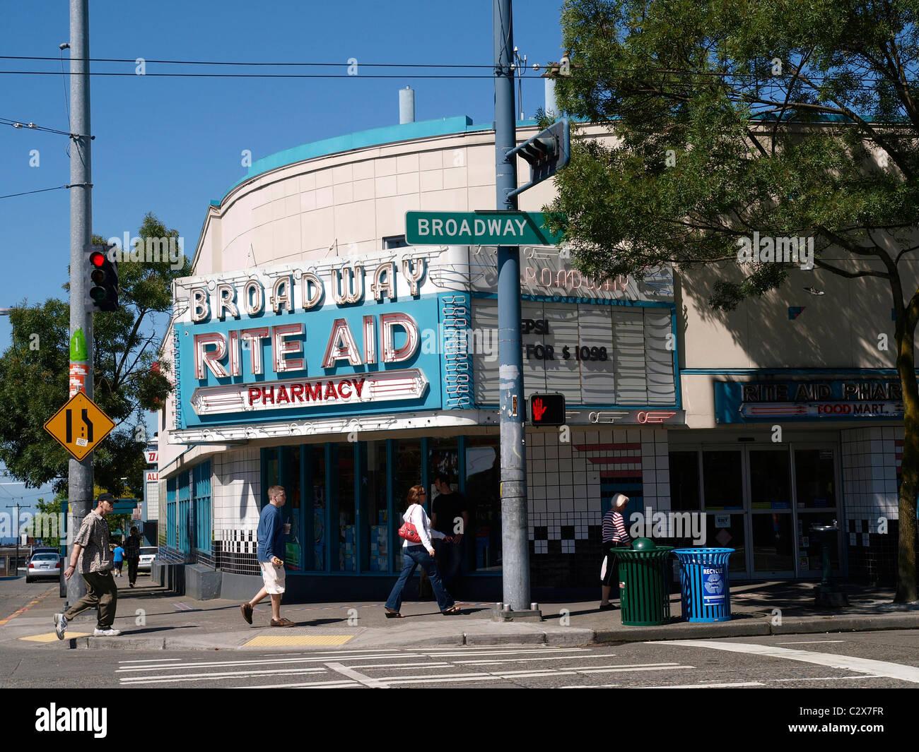 Broadway Rite Aid Broadway Avenue Seattle Washington USA - Stock Image