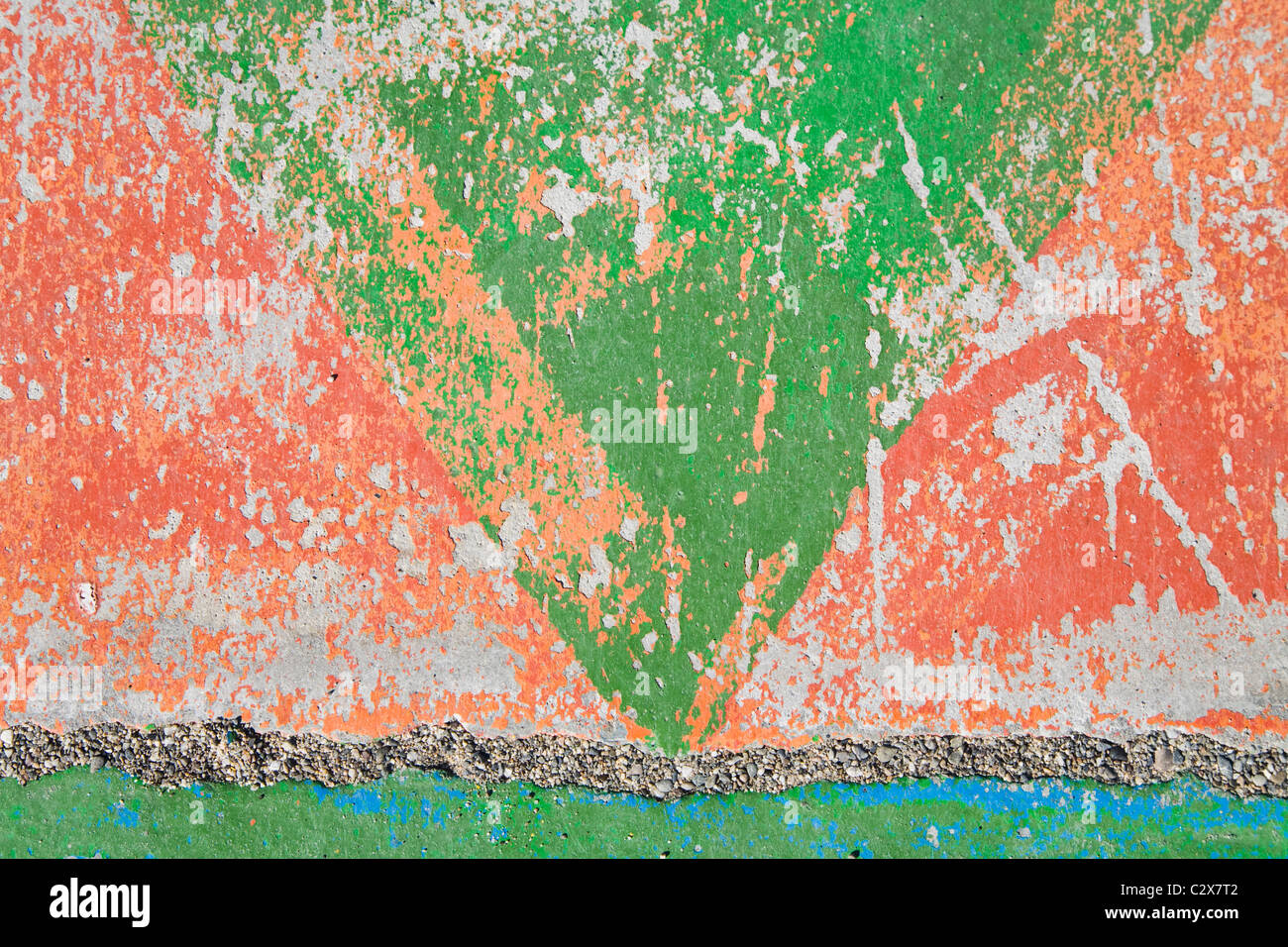Distressed Paint On Concrete Wall - Stock Image