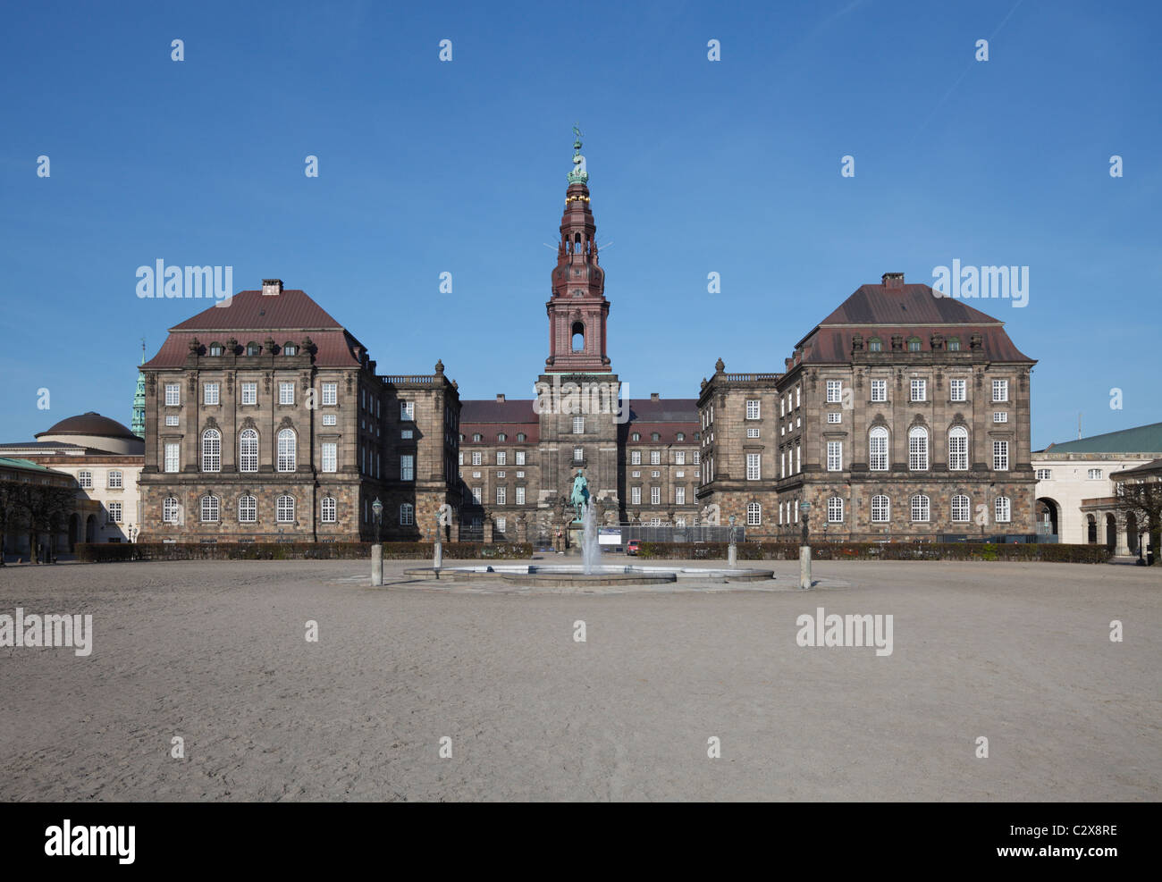 Christiansborg Palace - The Danish Parliament building in Copenhagen, Denmark - home of the Folketinget, seen from - Stock Image