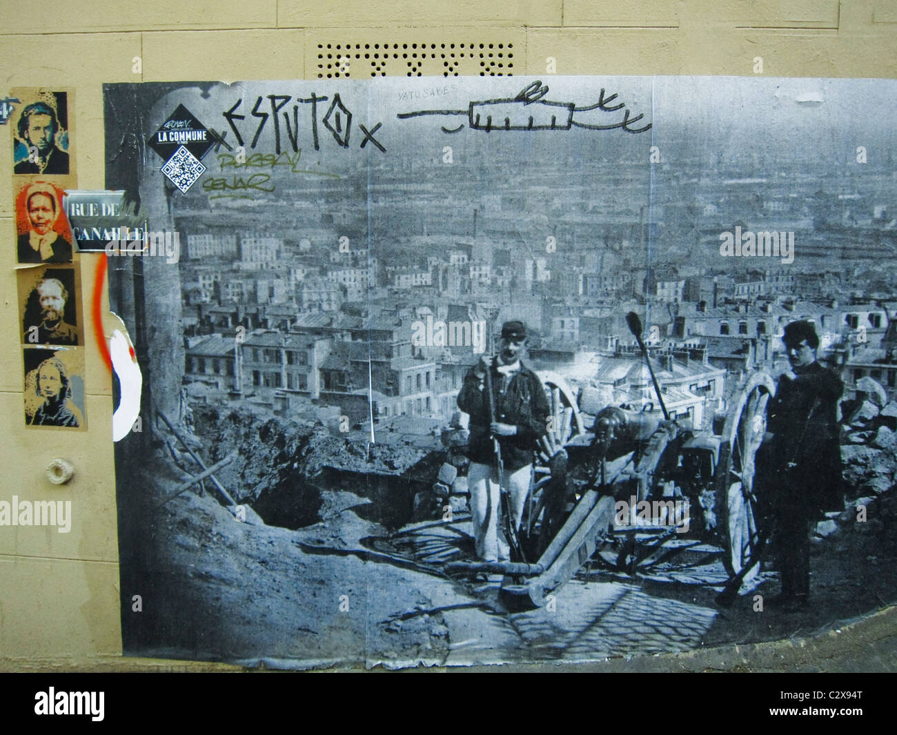 Paris, France, Photo Wall Art in Montmartre District, Showing the 'Paris Commune', History of the Area, - Stock Image