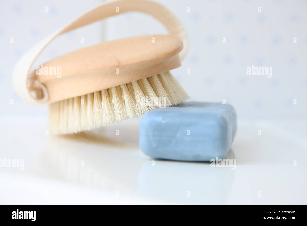 Soap and brush Stock Photo