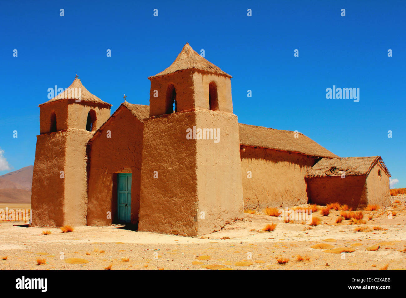 Adobe church, Pasajes, Tajzara, Bolivia - Stock Image