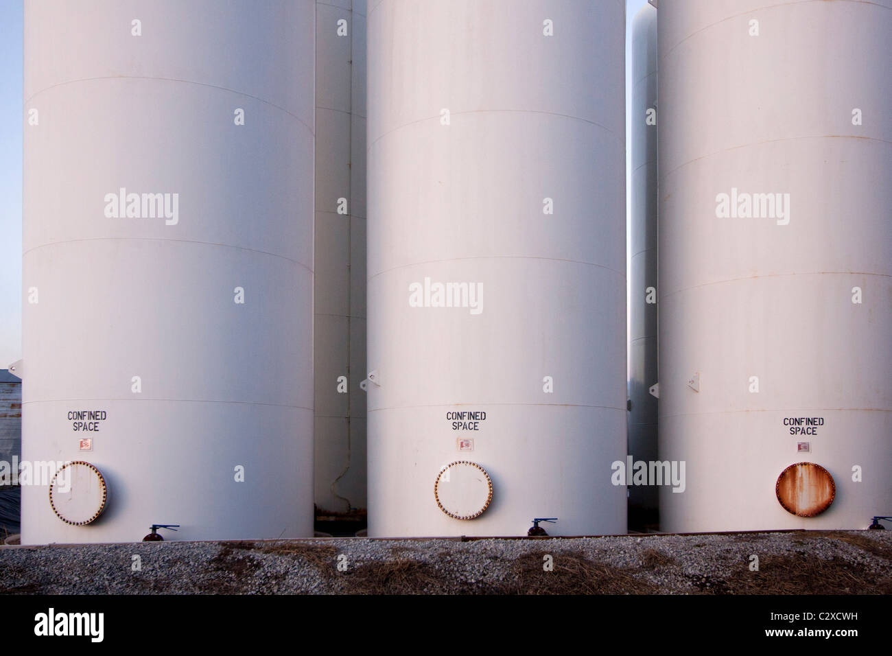 Agricultural tanks in rural Nebraska, 2/16/2011 - Stock Image