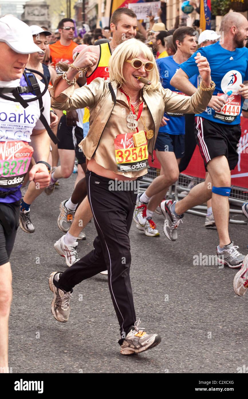 Fancy Dress U0027 Jimmy Savilleu0027 Runner At The London Marathon 2011,Church  Street,