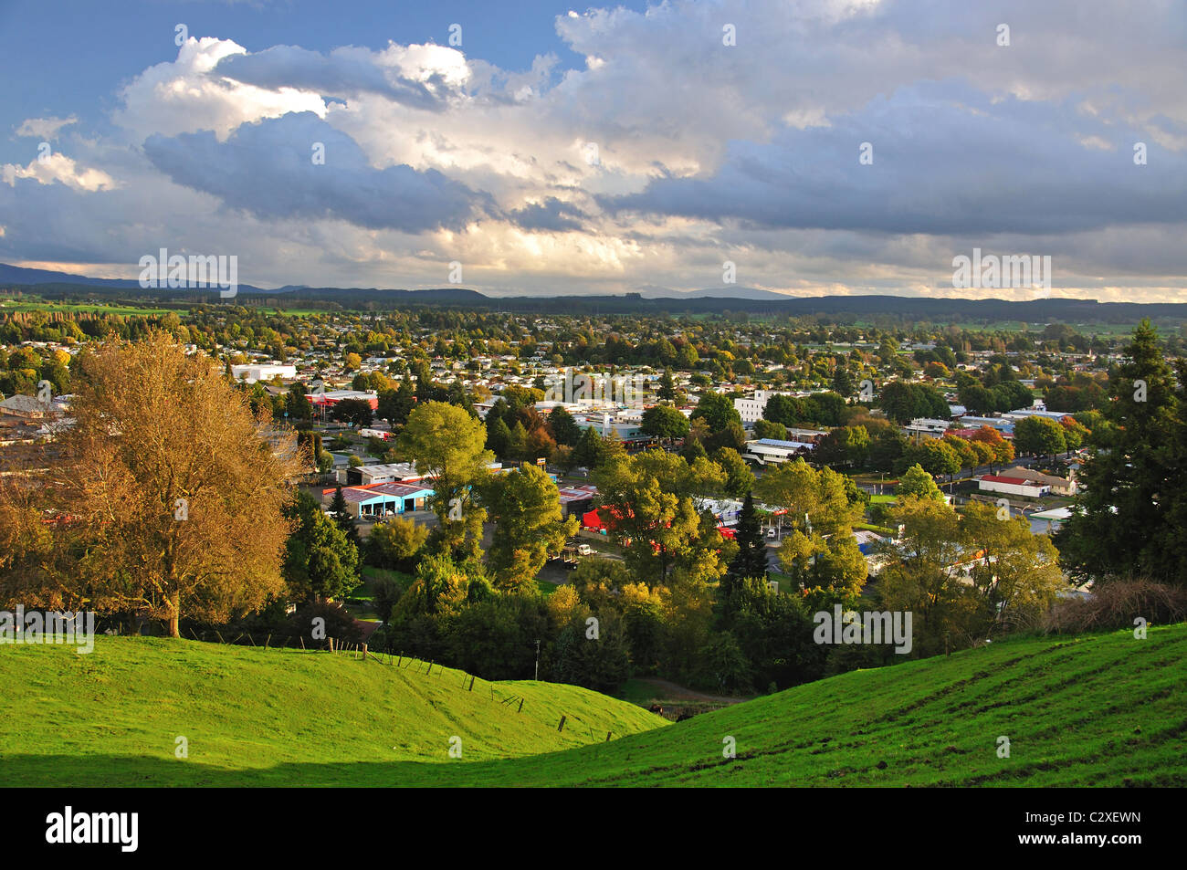 View of town from Colson Hill Lookout, Tokoroa, Waikato Region, North Island, New Zealand - Stock Image
