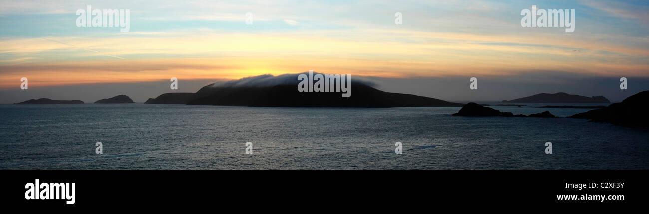 Near Dingle, Co Kerry, Ireland; Sunset Over The Blasket Islands Stock Photo